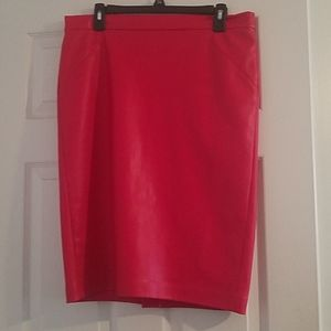 Red, faux leather knee length skirt